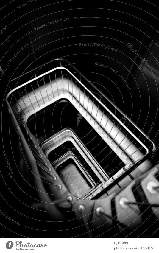 House (Residential Structure) Dark Architecture Stairs Interior design Analog Creepy Hallway Handrail Edge Downward Staircase (Hallway) Vertical Eerie