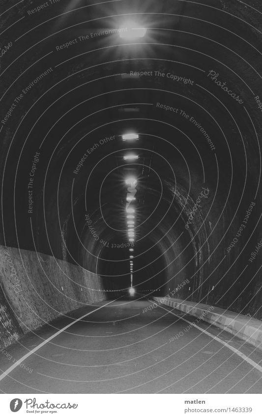 White Dark Black Street Lamp Illuminate Tunnel