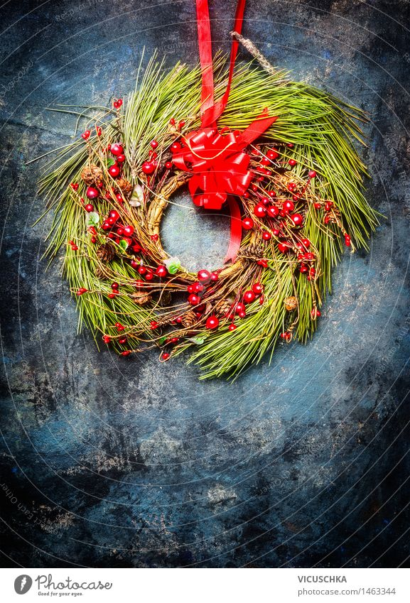 Christmas wreath with red decoration Winter Flat (apartment) Arrange Decoration Feasts & Celebrations Christmas & Advent Ornament String Design Style Tradition