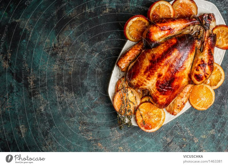 Whole chicken roast with roasted oranges Food Meat Nutrition Lunch Banquet Plate Style Design Table Feasts & Celebrations Background picture Horizontal Chicken