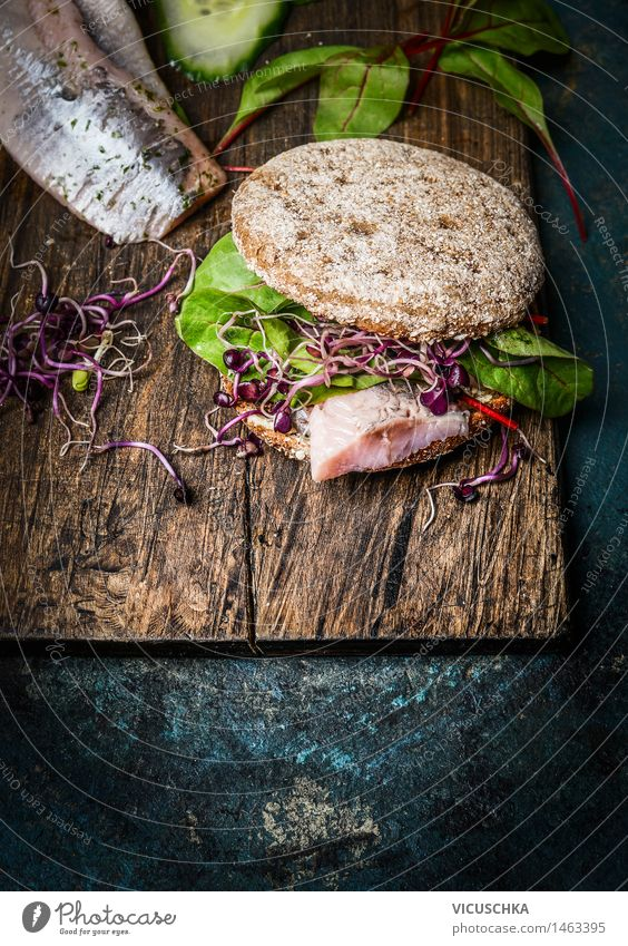 Healthy fish sandwich with cornbread and matjes Food Fish Vegetable Lettuce Salad Bread Roll Nutrition Breakfast Lunch Dinner Organic produce Vegetarian diet