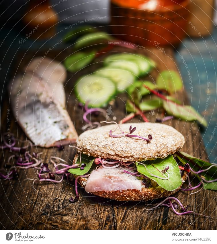 Healthy fish sandwich with herring, cucumber and sprouts Food Fish Lettuce Salad Bread Nutrition Lunch Dinner Buffet Brunch Organic produce Vegetarian diet Diet