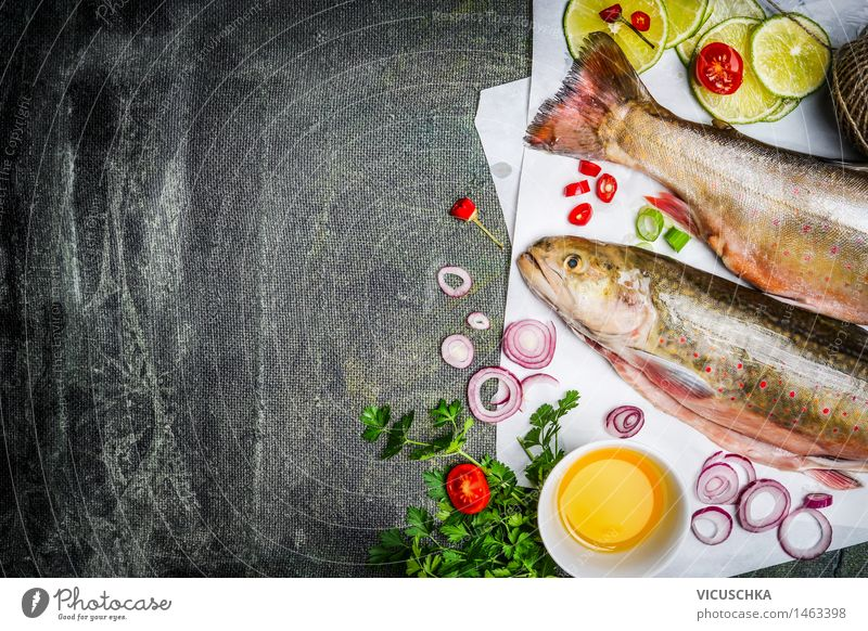 Fresh char with cooking ingredients for tasty cuisine Food Fish Vegetable Herbs and spices Cooking oil Nutrition Lunch Banquet Organic produce Vegetarian diet