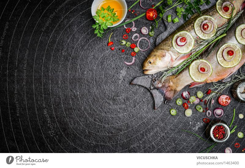 Food background for fish dishes with cooking ingredients Fish Vegetable Lettuce Salad Herbs and spices Cooking oil Nutrition Lunch Dinner Banquet