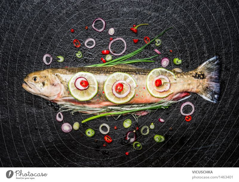 Healthy Eating Dark Life Eating Food photograph Style Food Design Fresh Nutrition Table Cooking & Baking Herbs and spices Kitchen Fish Vegetable