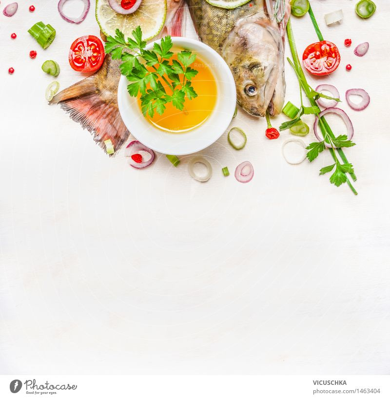 tail and head of fish with oil and spices Food Fish Herbs and spices Cooking oil Nutrition Lunch Dinner Banquet Organic produce Vegetarian diet Diet Bowl Style