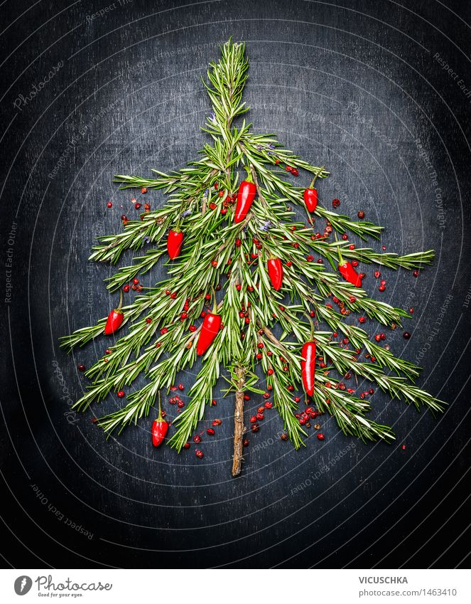 Christmas tree made of rosemary and red chili Food Herbs and spices Nutrition Banquet Style Design Healthy Eating Life Decoration Restaurant