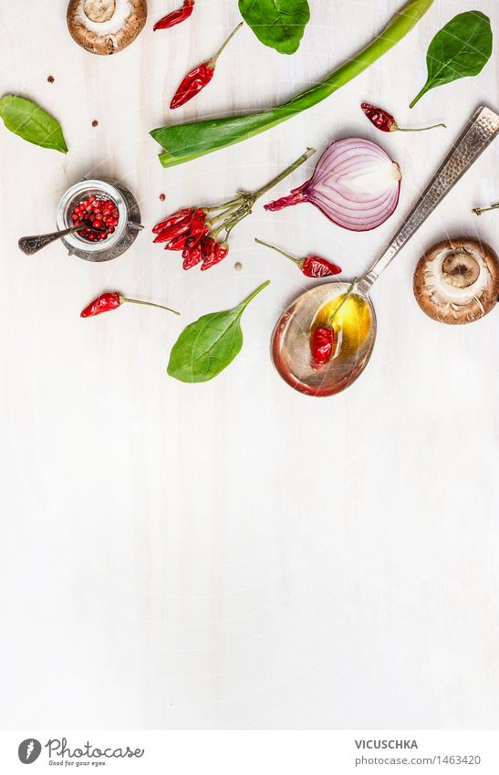 Spoons with oil and spices for a healthy diet Food Herbs and spices Cooking oil Nutrition Organic produce Vegetarian diet Diet Slow food Design Healthy Eating