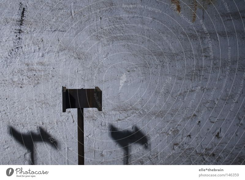 double shadow Shadow Wall (building) Pole Cold Twilight Warehouse Hall Metal Metalware Rust Autumn Detail priestly way