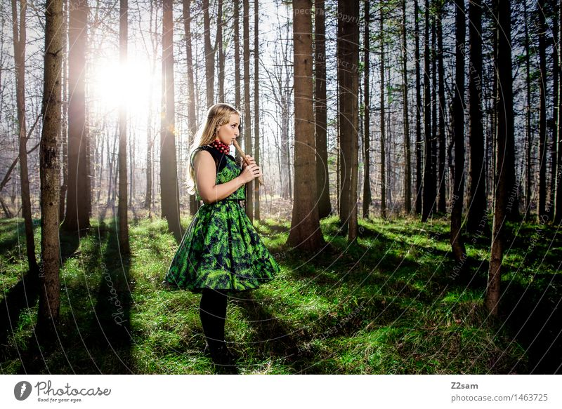 Woman playing flute in the magic forest Elegant Style Christmas & Advent Feminine Young woman Youth (Young adults) 18 - 30 years Adults Nature Landscape Sun