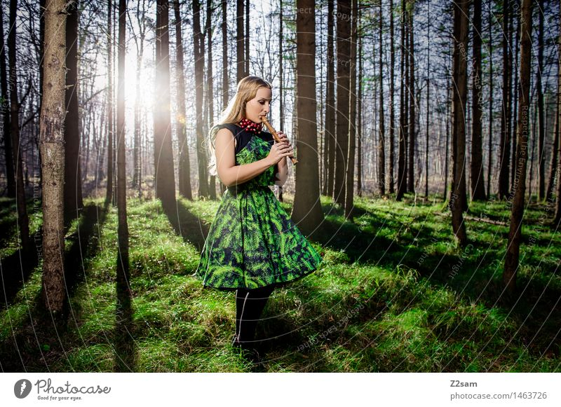 Nature Youth (Young adults) Christmas & Advent Beautiful Green Young woman Sun Landscape Calm Winter Forest 18 - 30 years Adults Religion and faith Lifestyle