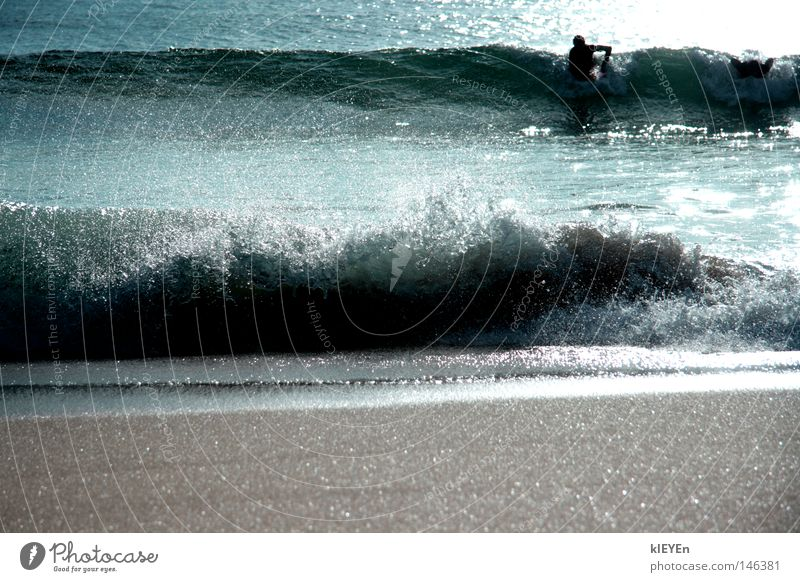 Water Sun Ocean Beach Sand Waves Drops of water Surfer White crest