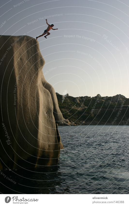 Human being Sky Man Water Ocean Jump Stone Waves Rock Tall Free Brave Hop Liberate Granite Release