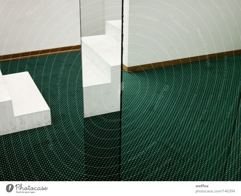 White Green Room Corner Mirror Carpet