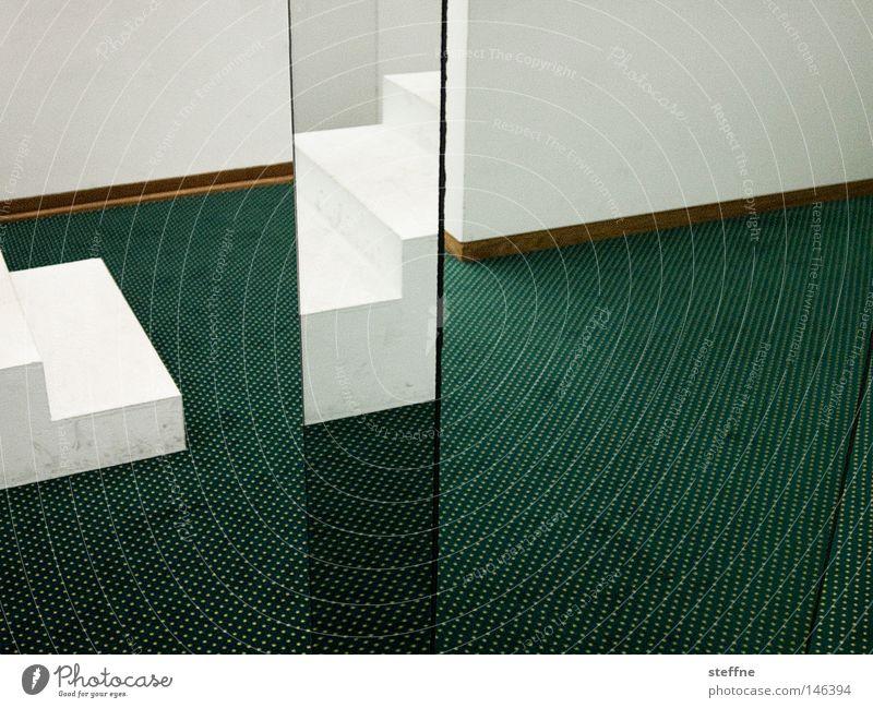 White Green Room Corner Mirror Carpet