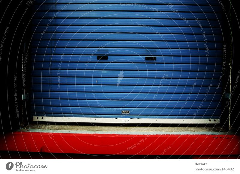Closed Gate Highway ramp (entrance) Garage Blue Red Stripe Minimal Loneliness Colour Access Entrance Closing time Barred Roller blind Roller shutter