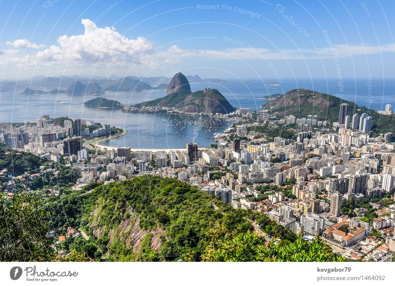 Panoramic view of Rio de Janeiro from above, Brazil Beautiful Vacation & Travel Beach Ocean Landscape Town Skyline Aircraft Vantage point america christ