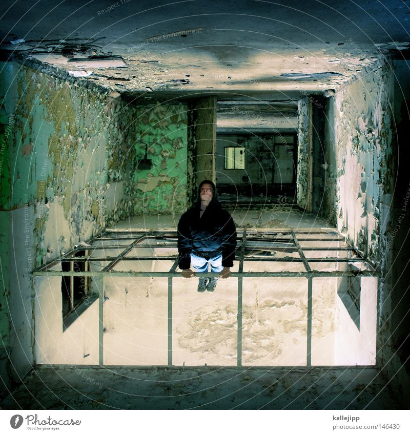 Human being Man Loneliness Colour Window Dye Room Going Perspective Middle Derelict Past Square Decline Damp Ruin