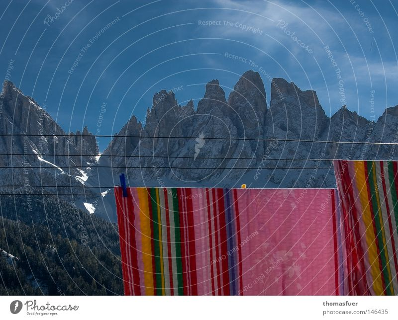 mountain of laundry Mountain Sky Clouds Bedclothes Blue Snow Search Clothesline Peak Far-off places Hiking Washing Pure Clean Federal State of Tyrol South Tyrol