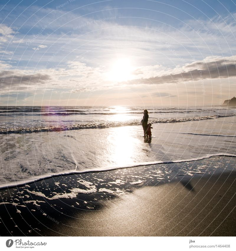 Standing in the water - Alaska 08 Well-being Contentment Vacation & Travel Trip Freedom Beach Ocean Waves Parenting Feminine 2 Human being 1 - 3 years Toddler