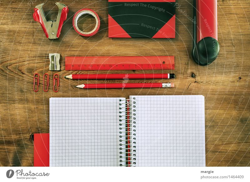 Desk Red- Black II School Study Work and employment Profession Office work Workplace Trade Services Pen Holder Adhesive tape Folder Paper clip Booklet Ruler