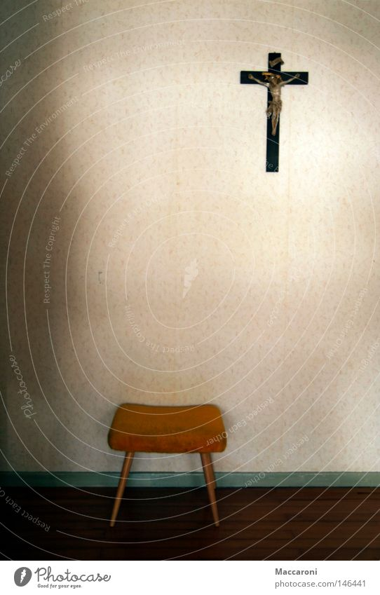 The matter of faith II Dinner Armchair Wallpaper Bedroom Church Old Trashy Yellow Hope Belief Grief Loneliness Distress Religion and faith Desire Stool Bench