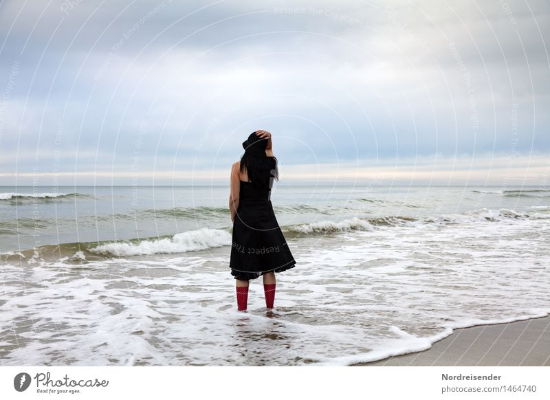 Human being Woman Sky Vacation & Travel Water Ocean Relaxation Loneliness Calm Far-off places Beach Adults Feminine Moody Contentment Waves