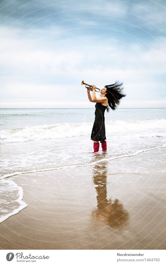 sound Lifestyle Style Joy Music Human being Feminine Woman Adults 1 Musician Beach North Sea Ocean Fashion Dress Rubber boots Hair and hairstyles Black-haired