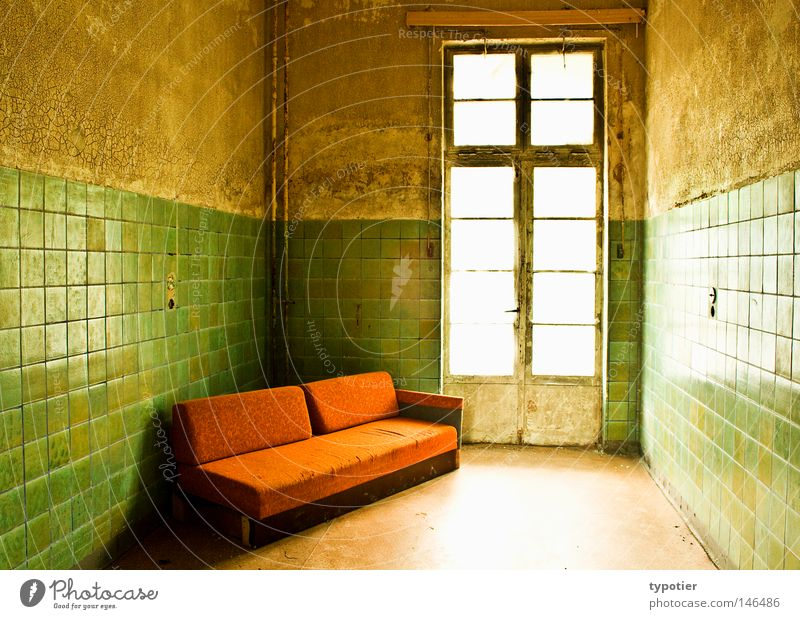 Green White Window Yellow Wall (building) Brown Orange Room Dirty Door Clean Floor covering Historic Car door Couch Furniture