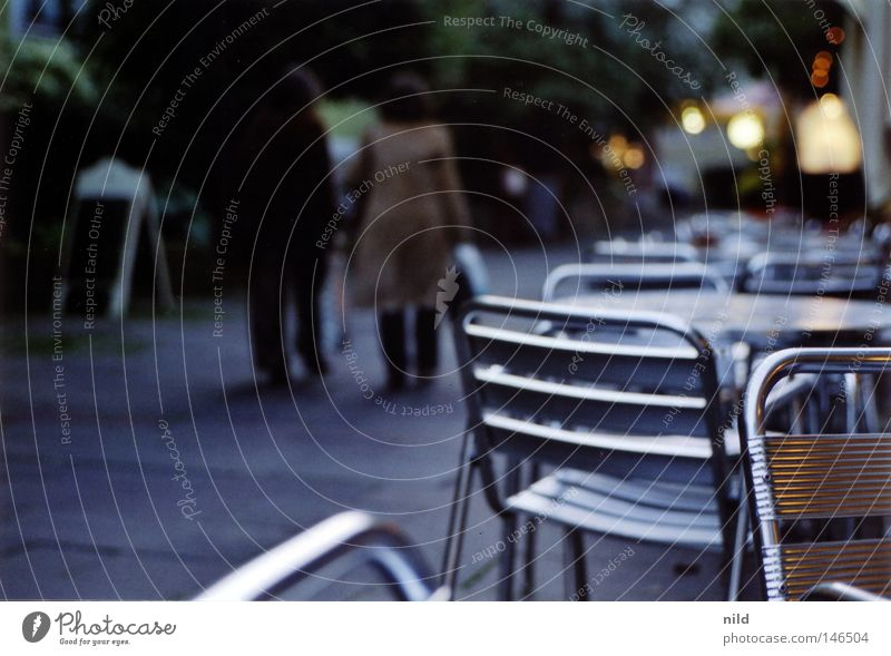 Analog - street cafe Empty Autumn Cold Evening Munich Sidewalk café Table Chair Calm Comfortless Pedestrian Traffic infrastructure too cold be inside Going Scan