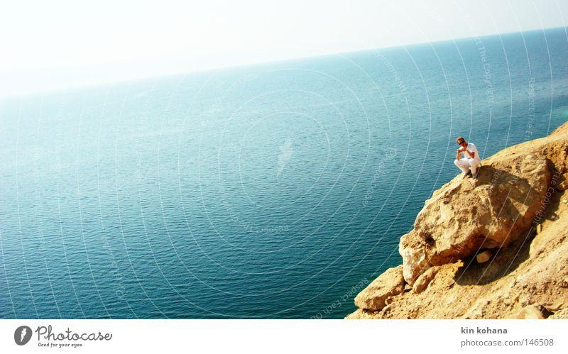 Man Sky White Sun Ocean Blue Red Summer Calm Yellow Emotions Mountain Stone Warmth Sand Art