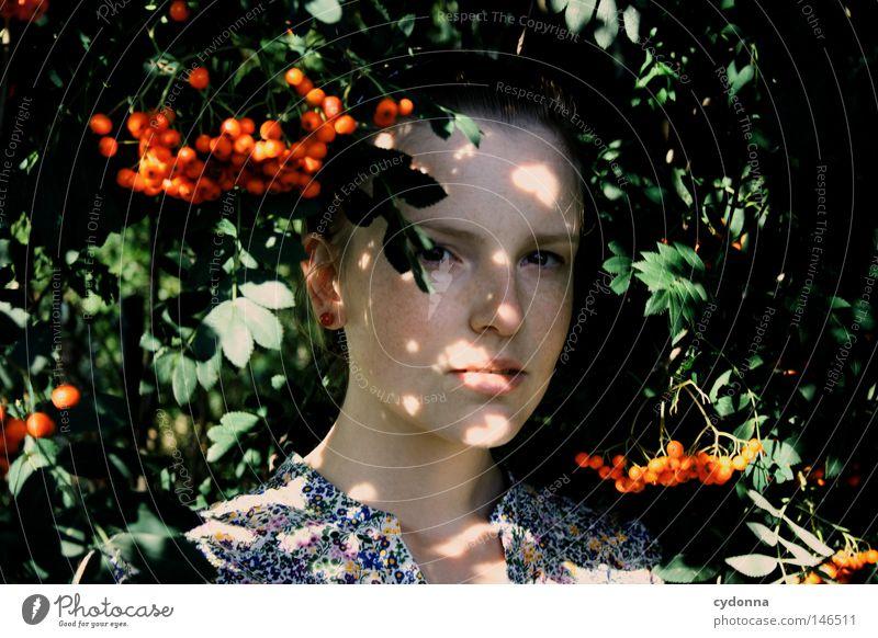 Woman Human being Nature Beautiful Red Leaf Feminine Life Emotions Style Dream Fruit Dangerous Hope Threat Retro