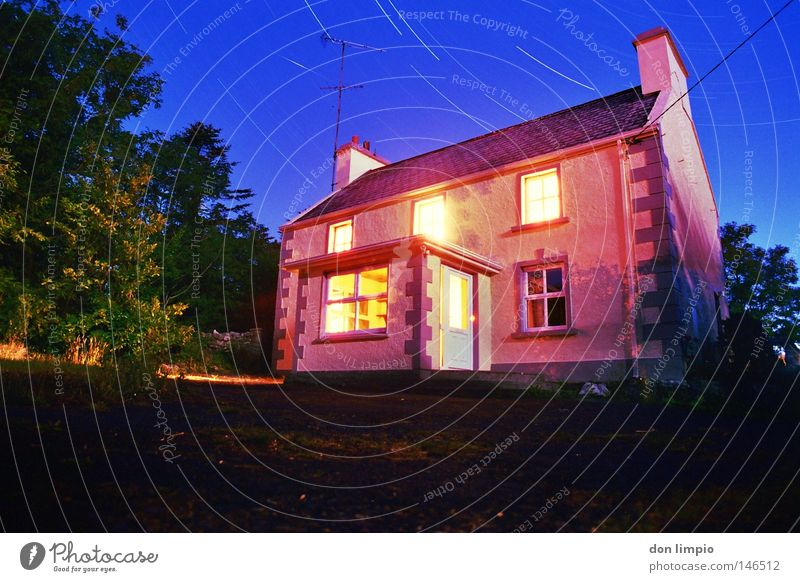 staffhouse-drumsheel House (Residential Structure) Garden Night Stars Sky Tree Asphalt Light Window Red Blue Ireland Wide angle Long exposure Analog moonlight