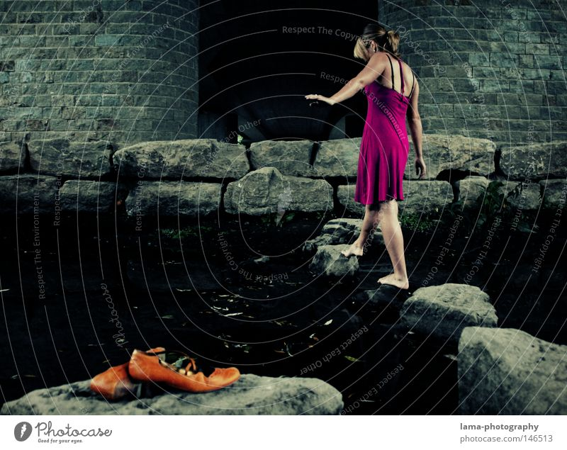 under the bridge Footwear Barefoot Legs Going Walking Leave behind Forget Feet Woman Dress Summer dress Stone Stony Ocean River Brook Ford Water Loneliness