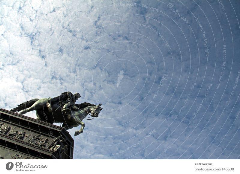 fritz Monument Statue Equestrian statue Friedrich Wilhelm IV. Sculptor Unter den Linden Tourism Worm's-eye view Sky blue Clouds Landmark Berlin