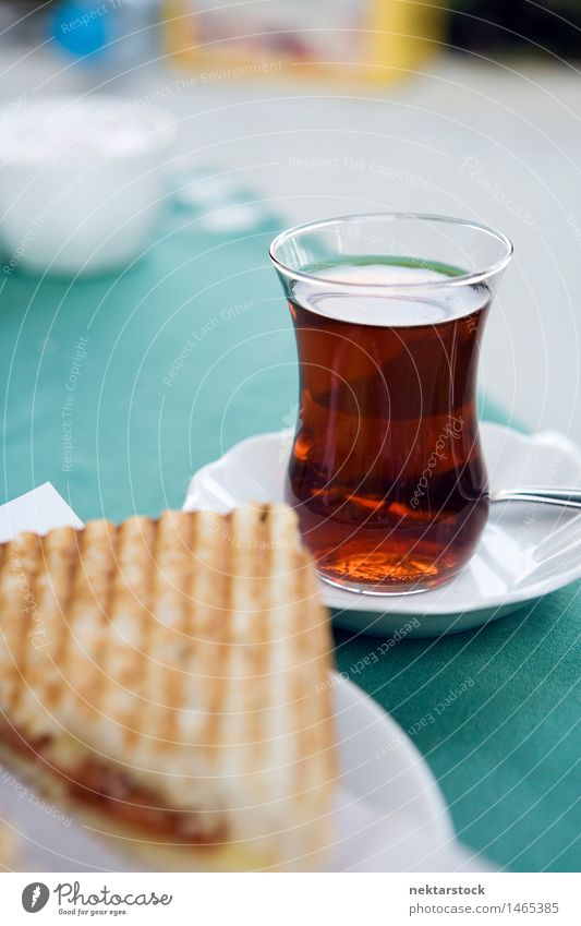 Turkish tea Tea Plate Spoon Black Snack toast Meal glass Istanbul turkey Reflection