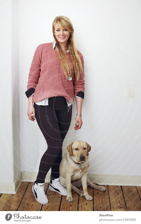 Dog Youth (Young adults) Beautiful Young woman Animal 18 - 30 years Adults Natural Feminine Wood Exceptional Living or residing Body Blonde Sit Stand