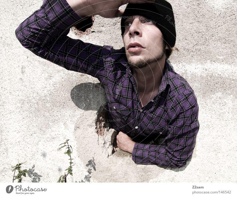 Human being Man Joy Face Wall (building) Head Perspective Vantage point Near Facial hair Shirt Cap Hollow Lean