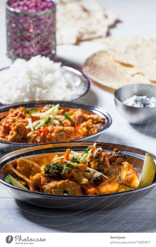 No hurry, chicken curry Food Meat Dough Baked goods Eating Dinner Asian Food Bowl Cheap Good Refrain Curry powder India Lime basmati papadam Naan Candle Rice