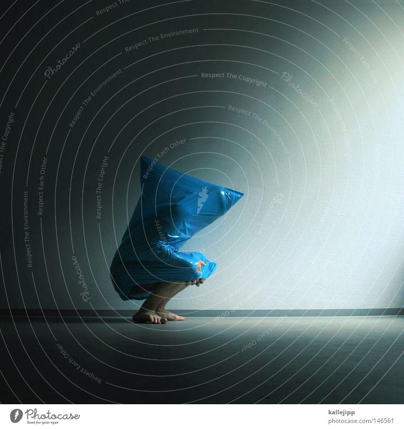 Human being Man Blue Black Death Art Body Sit Wait Dangerous Threat Culture Mask Wrinkles Creepy Stage play
