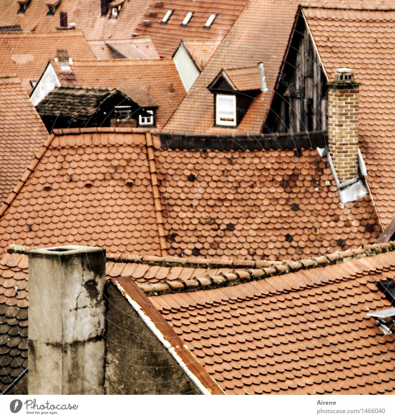 Old Franconian Bamberg Downtown Old town Deserted House (Residential Structure) Roof Chimney Brick Esthetic Above Point Brown Red Trust Safety Protection