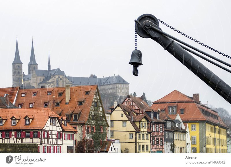 ticked Fog Bamberg Bavaria Franconia Town Downtown Old town Deserted House (Residential Structure) Church Dome Harbour Half-timbered house Housefront Facade