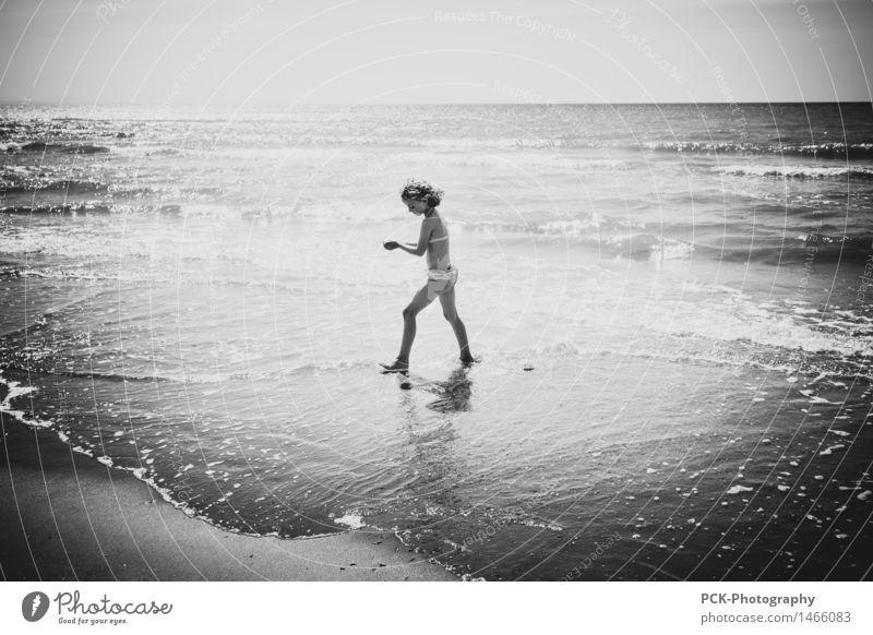 Human being Child Summer Water Ocean Joy Girl Beach Autumn Spring Movement Feminine Coast Playing Happy Swimming & Bathing