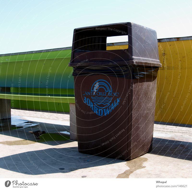 CALIFORNIA I-O-V-E - I California Beach Trash Trash container Ocean Pacific Ocean USA Santa Cruz boardwalk Bench