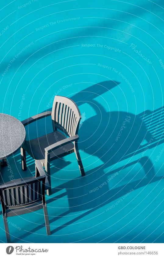 sun deck Plastic Plastic basket Sun deck Blue Turquoise Drop shadow Relaxation Vacation & Travel Deck Gastronomy Deserted Furniture Summer Outdoor furniture