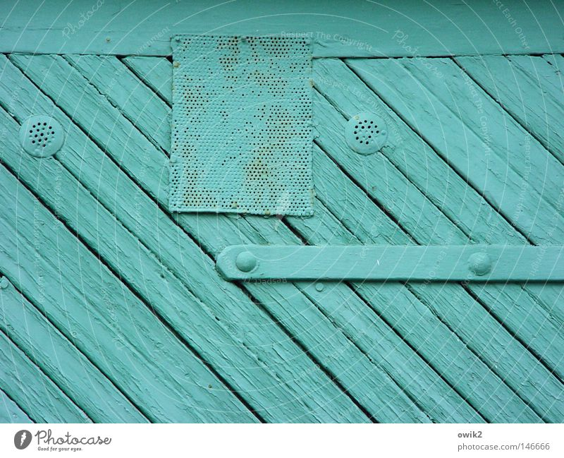 Colour Wood Dye Leisure and hobbies Door Closed Gloomy Painting (action, work) Gate Craft (trade) Turquoise Wooden board Garage Tilt Painted Weather protection