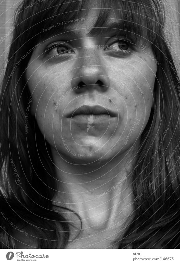 portrait of a woman Black White Woman Chin Mole Eyebrow Impression Thought Think Grief Calm Ask Keen insight To be silent Curiosity Looking Dream
