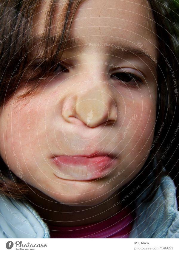 wittily Girl Child Grimace Tip of the nose Cheek Lips Pushing Forehead Make-up Joke Joy Funny Bursting Effort Portrait photograph Window pane Curiosity Head