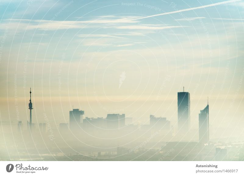 Vienna in the Fog Environment Nature Sky Clouds Horizon Autumn Climate Weather Austria Town Capital city Skyline House (Residential Structure) Tower