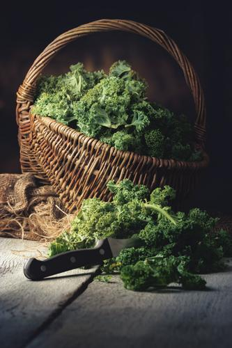 fresh kale in a basket Food Vegetable Nutrition Lunch Dinner Organic produce Vegetarian diet Slow food Knives Lifestyle Kitchen Restaurant Eating Nature Plant